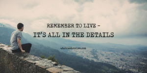 Remember To Live – It's All In The Details